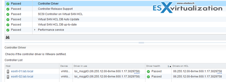 VMware HCL and VMware Virtual SAN 6.2 health view