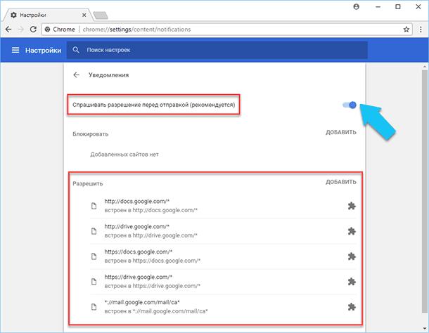 Chrome: Уведомления
