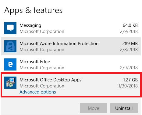 удаление предустановелнной Microsoft Office Desktop App